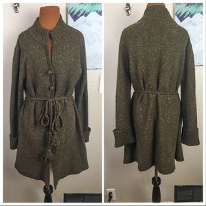 Chunky knit wool long cardigan, tassels